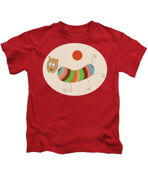 Sausage Dog In Ketchup Sunset Kids T-Shirt by Frank Tschakert