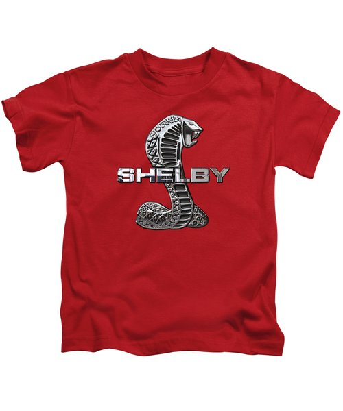 Shelby Cobra - 3d Badge On Red Kids T-Shirt by Serge Averbukh