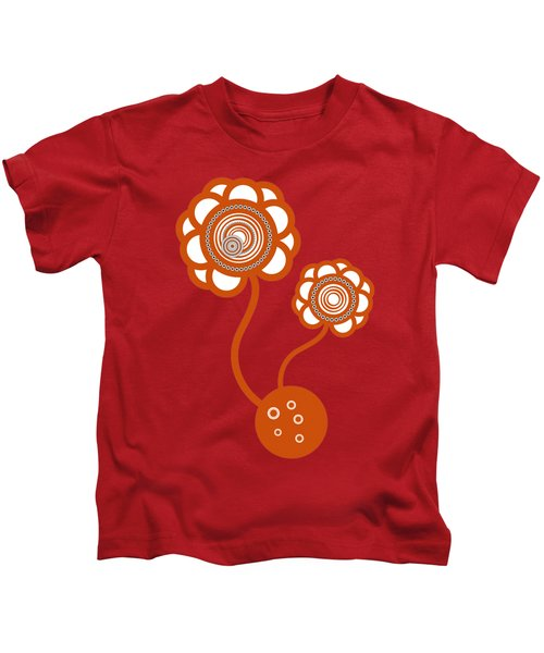 Two Orange Flowers Kids T-Shirt by Frank Tschakert