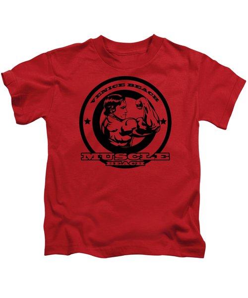 Venice Beach Arnold Muscle Kids T-Shirt by Alex Soro