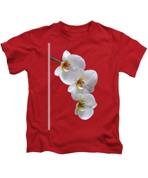 White Orchids On Terracotta Vdertical Kids T-Shirt by Gill Billington