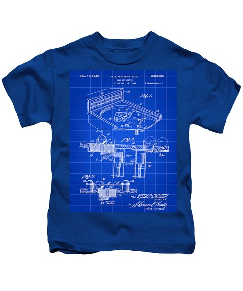 Pinball Machine Patent 1939 - Blue Kids T-Shirt by Stephen Younts