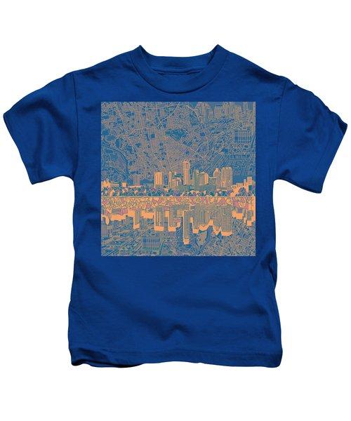 Austin Texas Skyline 2 Kids T-Shirt by Bekim Art
