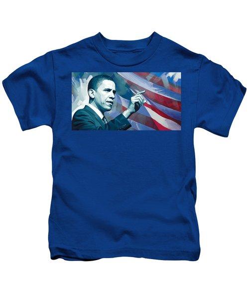 Barack Obama Artwork 2 Kids T-Shirt by Sheraz A