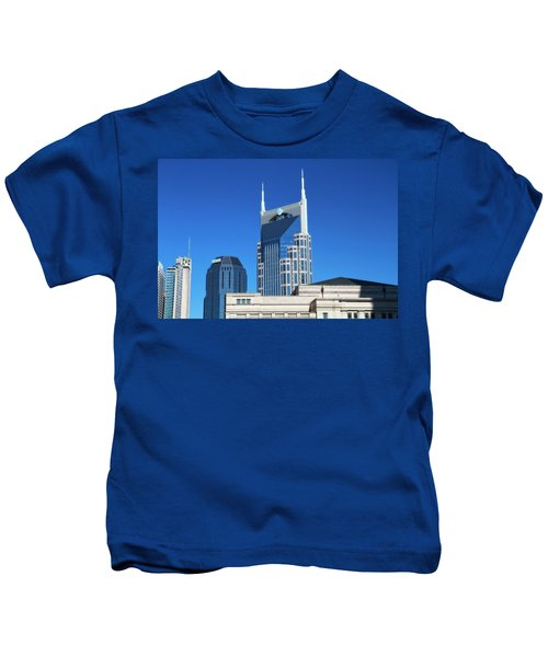 Batman Building And Nashville Skyline Kids T-Shirt by Dan Sproul