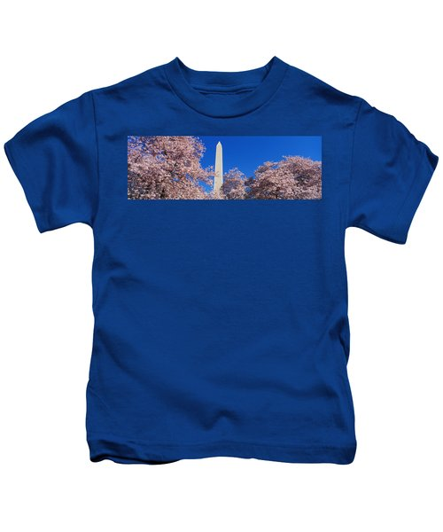 Cherry Blossoms Washington Monument Kids T-Shirt by Panoramic Images