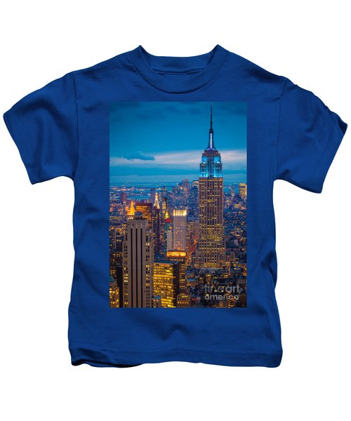 Empire State Blue Night Kids T-Shirt by Inge Johnsson