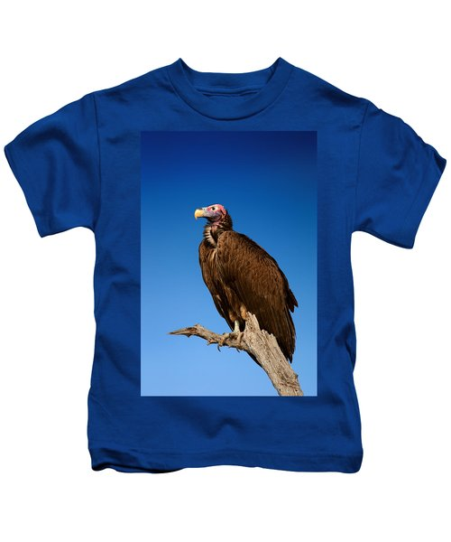 Lappetfaced Vulture Against Blue Sky Kids T-Shirt by Johan Swanepoel