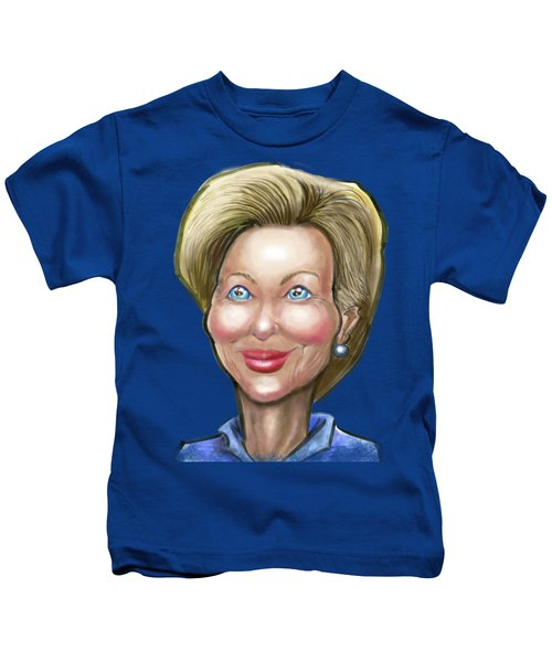 Hillary Clinton Caricature Kids T-Shirt by Kevin Middleton
