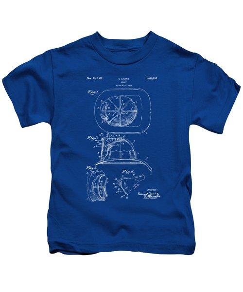 1932 Fireman Helmet Artwork Blueprint Kids T-Shirt by Nikki Marie Smith