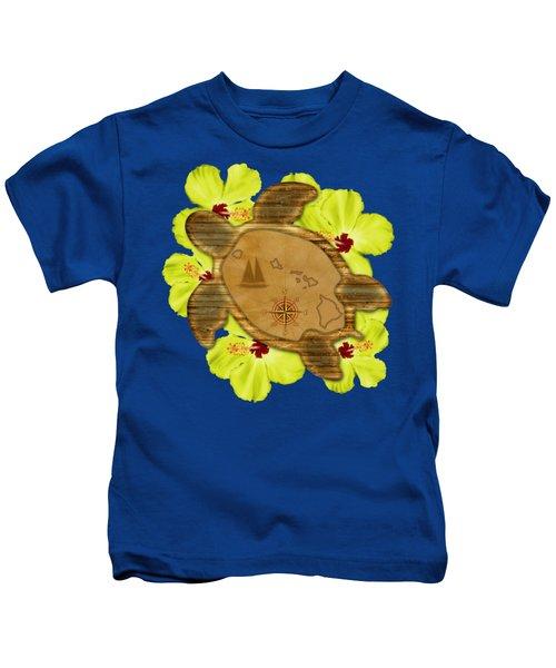 Honu Hawaiian Nautical Map Kids T-Shirt by Chris MacDonald