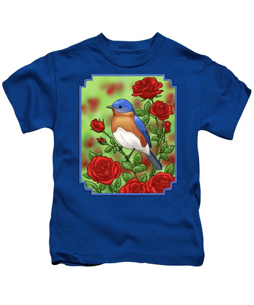 New York State Bluebird And Rose Kids T-Shirt by Crista Forest