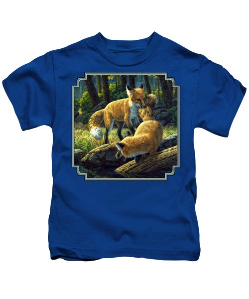 Red Foxes - Sibling Rivalry Kids T-Shirt by Crista Forest
