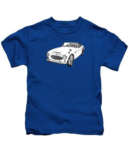 Austin Healey 300 Sports Car Drawing Kids T-Shirt by Keith Webber Jr
