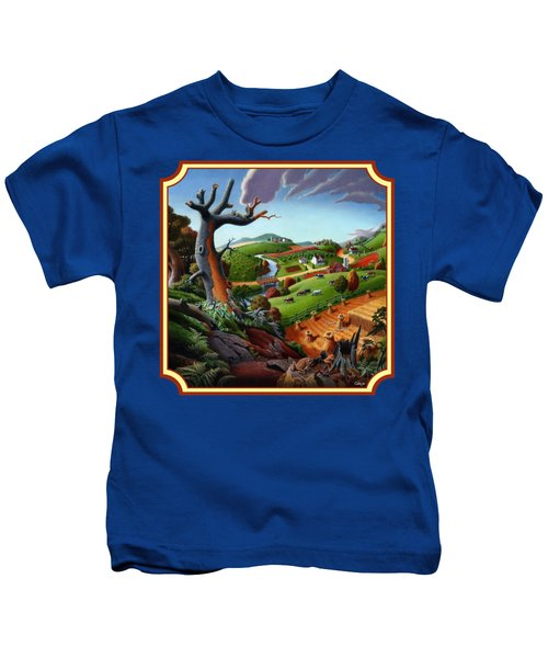 Autumn Wheat Harvest Country Farm Life Landscape - Square Format Kids T-Shirt by Walt Curlee
