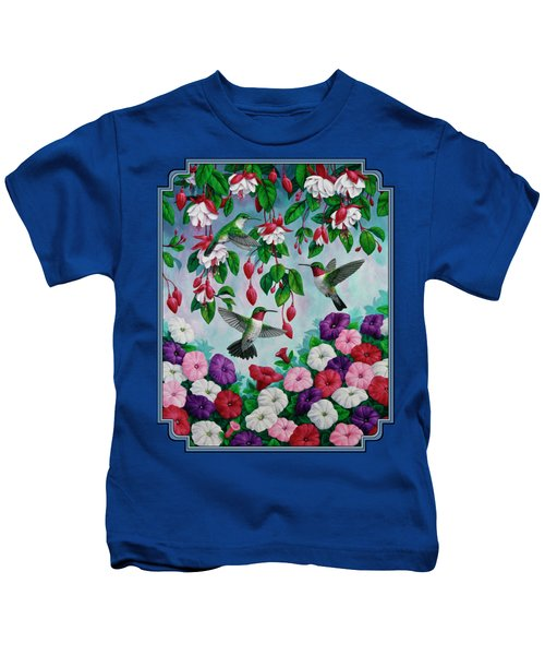 Bird Painting - Hummingbird Heaven Kids T-Shirt by Crista Forest