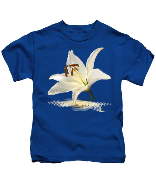 Blue Horizons - White Lily Kids T-Shirt by Gill Billington