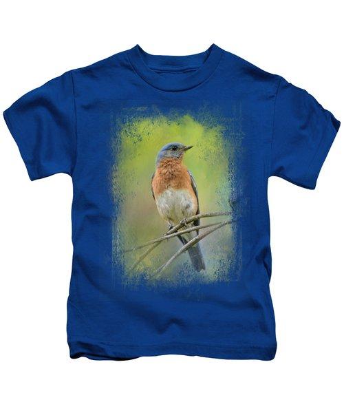 Bluebird On A Spring Day Kids T-Shirt by Jai Johnson