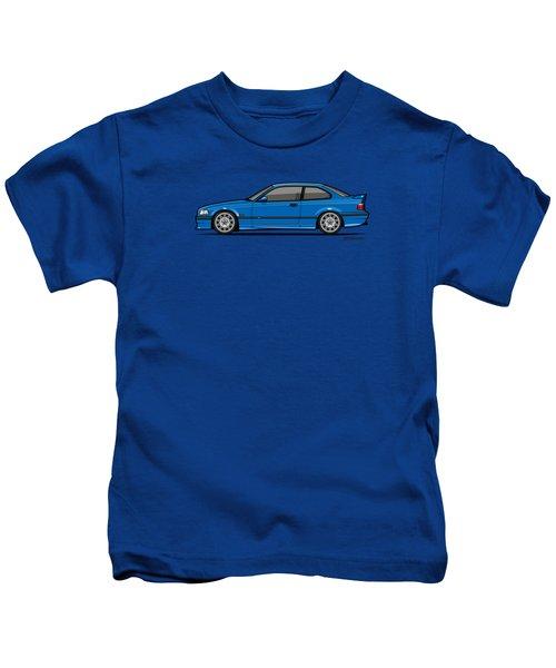 Bmw 3 Series E36 M3 Coupe Estoril Blue Kids T-Shirt by Monkey Crisis On Mars