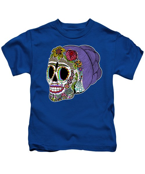 Catrina Sugar Skull Kids T-Shirt by Tammy Wetzel