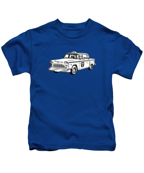 Checkered Taxi Cab Illustrastion Kids T-Shirt by Keith Webber Jr