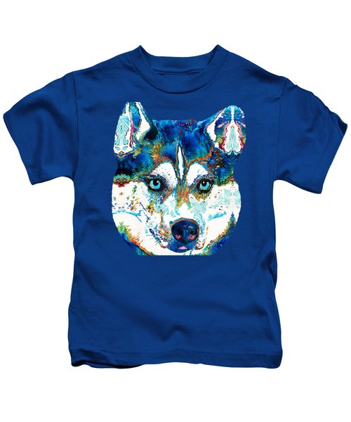 Colorful Husky Dog Art By Sharon Cummings Kids T-Shirt by Sharon Cummings