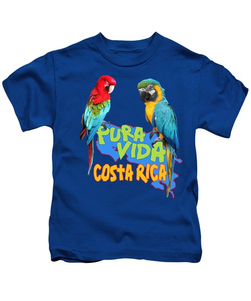 Costa Rican Macaws Kids T-Shirt by Linda Bissett