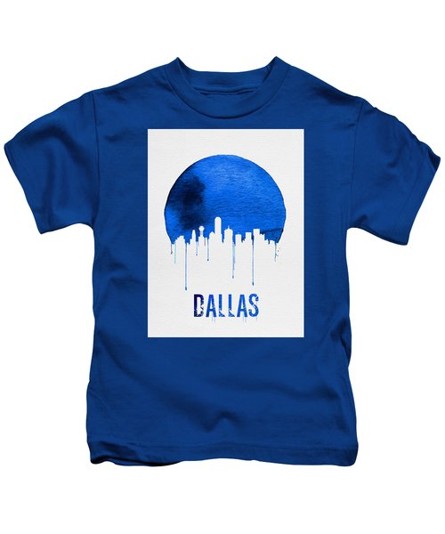 Dallas Skyline Blue Kids T-Shirt by Naxart Studio