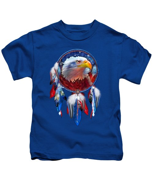 Dream Catcher - Eagle Red White Blue Kids T-Shirt by Carol Cavalaris