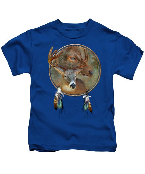 Dream Catcher - Spirit Of The Deer Kids T-Shirt by Carol Cavalaris
