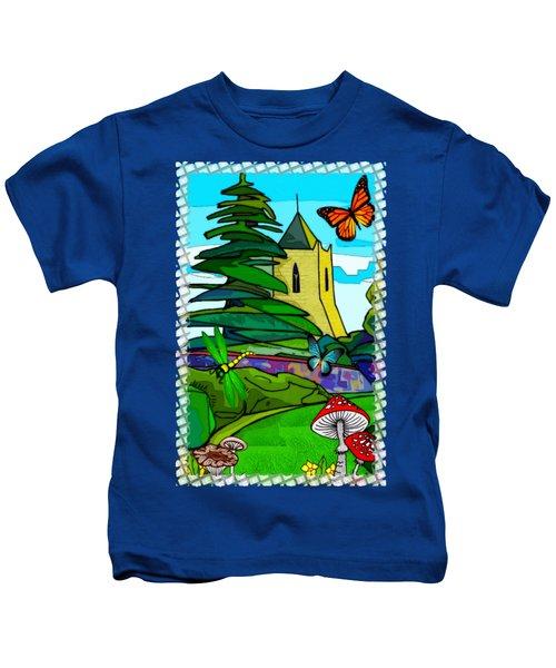 English Garden Whimsical Folk Art Kids T-Shirt by Sharon and Renee Lozen