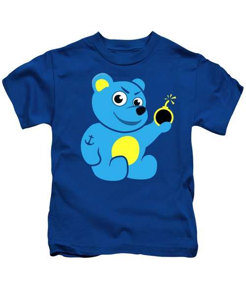 Evil Tattooed Teddy Bear Kids T-Shirt by Boriana Giormova