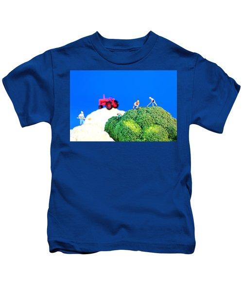Farming On Broccoli And Cauliflower II Kids T-Shirt by Paul Ge