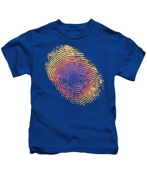 Giant Iridescent Fingerprint On Blue Knight Set Of 4 - 4 Of 4 Kids T-Shirt by Serge Averbukh