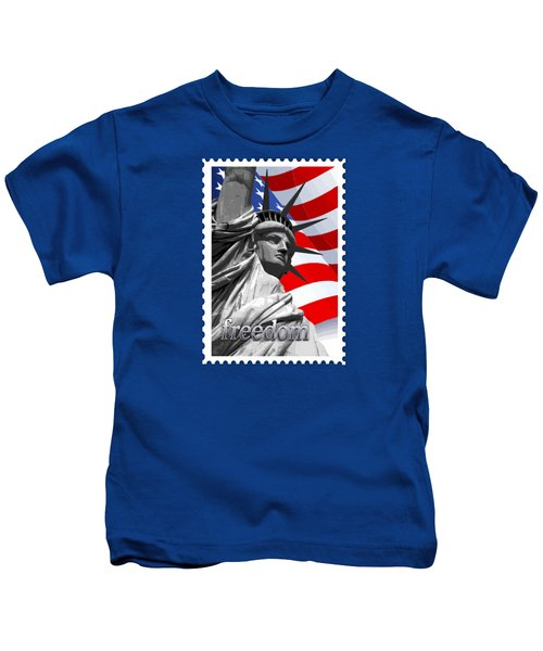 Graphic Statue Of Liberty With American Flag Text Freedom Kids T-Shirt by Elaine Plesser