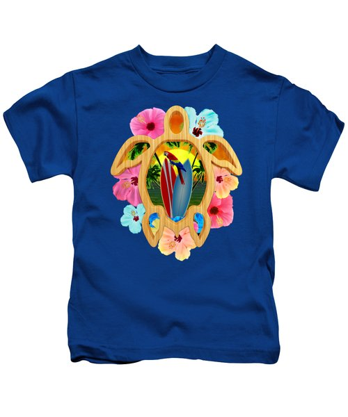 Hawaiian Surfboard Sunset Kids T-Shirt by Chris MacDonald