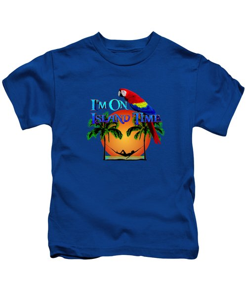Island Time And Parrot Kids T-Shirt by Chris MacDonald