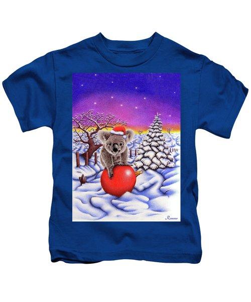 Koala On Christmas Ball Kids T-Shirt by Remrov