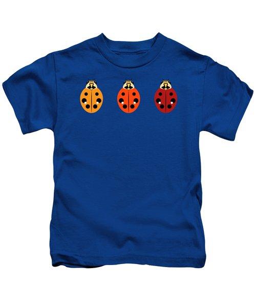 Ladybug Trio Horizontal Kids T-Shirt by MM Anderson
