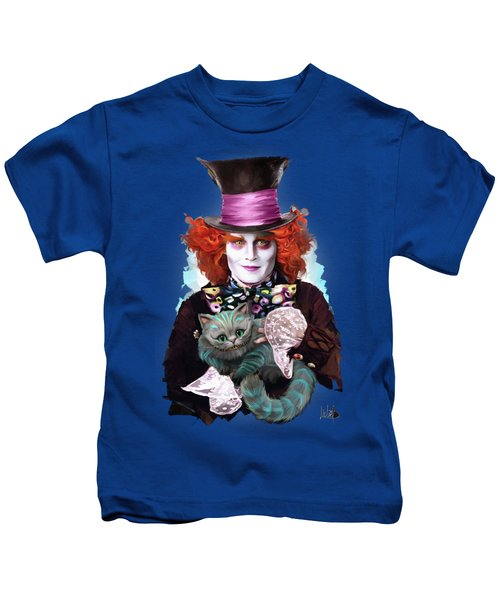 Mad Hatter And Cheshire Cat Kids T-Shirt by Melanie D