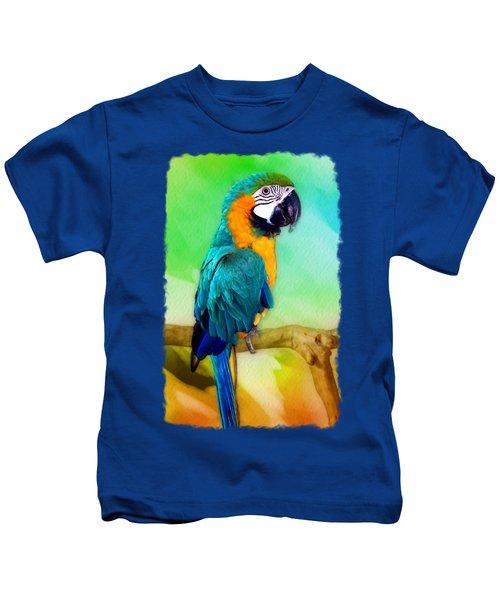 Maya - Macaw Parrot  Kids T-Shirt by Linda Koelbel