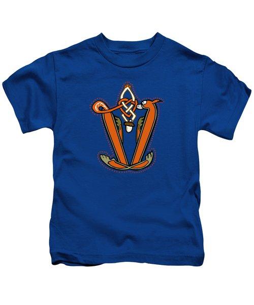 Medieval Squirrel Letter V Kids T-Shirt by Donna Huntriss
