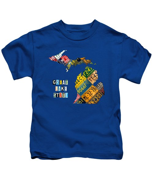 Michigan License Plate Map Great Lake State With Vintage Blue Plate Background Edition Kids T-Shirt by Design Turnpike