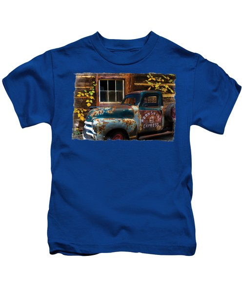 Moonshine Express Bordered Kids T-Shirt by Debra and Dave Vanderlaan