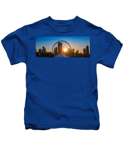 Navy Pier Sundown Chicago Kids T-Shirt by Steve Gadomski