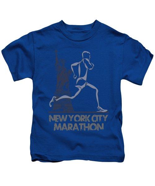 New York City Marathon3 Kids T-Shirt by Joe Hamilton