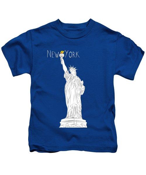 Ny Statue Of Liberty Line Art Kids T-Shirt by BONB Creative