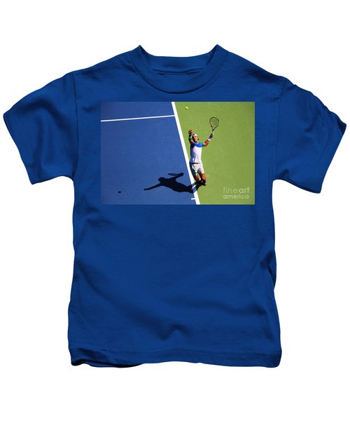 Rafeal Nadal Tennis Serve Kids T-Shirt by Nishanth Gopinathan