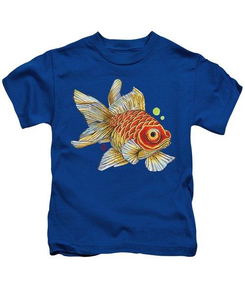 Red Telescope Goldfish Kids T-Shirt by Shih Chang Yang