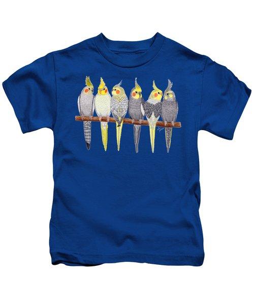 Six Cockatiels Kids T-Shirt by Rita Palmer